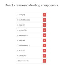 react制作网页数据列表移除功能插件代码