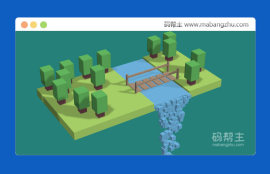 three.js基于canvas绘制的3D森林<span style='color:red;'>瀑布流</span>动积木模型动画