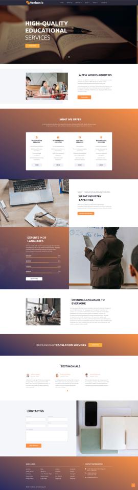 jQuery bootstraps响应式翻译服务教育培训类企业网站模板