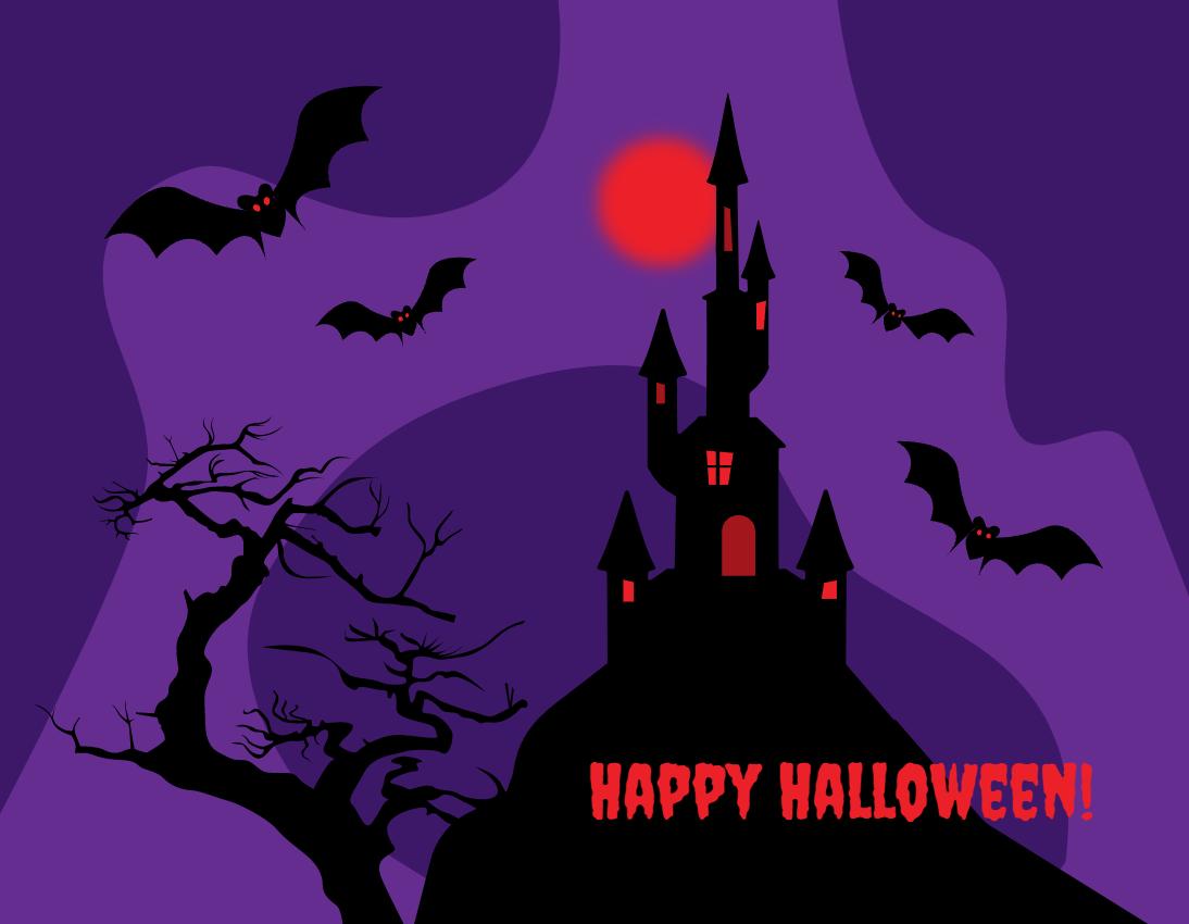 万圣节城堡和蝙蝠动画特效