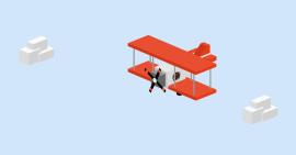 非常好玩的一款方块式飞机和云彩动画效果